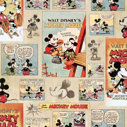 Tapetti toiseen lastenhuoneeseen, GRAHAM & BROWN DISNEY MICKEY MOUSE VINTAGE EPISODE COMIC STRIP WALLPAPER 70 242