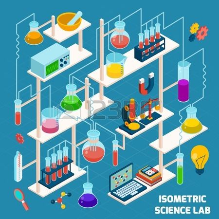 Isometric science lab research process with chemistry and physics 3d icons vector illustration Stock Vector