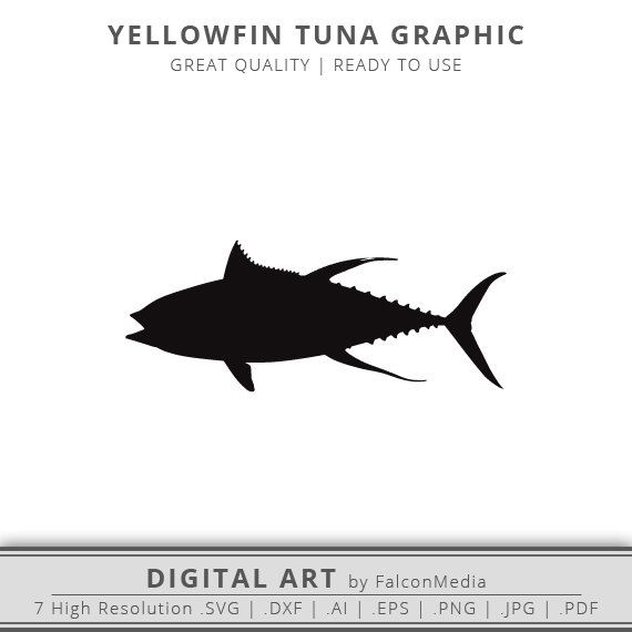 Yellowfin Tuna Svg Silhouette Saltwater Fish