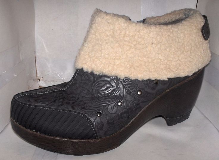 J-41 WOMENS BLACK EMBOSSED ANKLE BOOTS FAUX FUR SIZE 11 M MADRID #J41 #AnkleBoots #Casual
