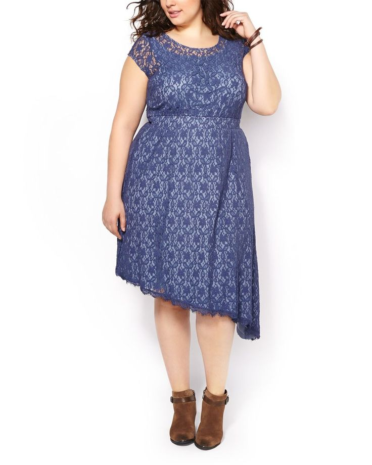 Draw all eyes on you in this pretty plus-size dress boasting a lovely patterned lace overlay and unique asymmetric hem. It features a rounded neck with keyhole opening at back, short sleeves, elastic waistband and stretchy knit lining. Dress it up with heels!