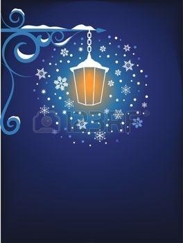 fond clair avec des décorations des rubans: Arrière-plan lampadaire rétro