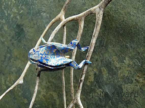 brooch origami frog-blue and gold-broche grenouille by OrijujuShop