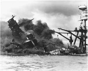 USS Arizona burning after the Japanese attack on Pearl Harbor, December 7, 1941
