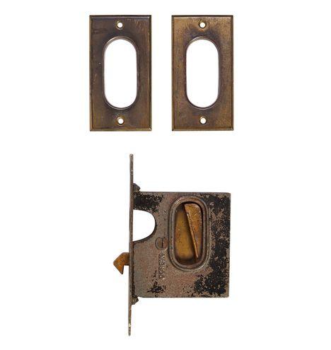 Simple Brass Pocket Door Set w/ Mortise Lock