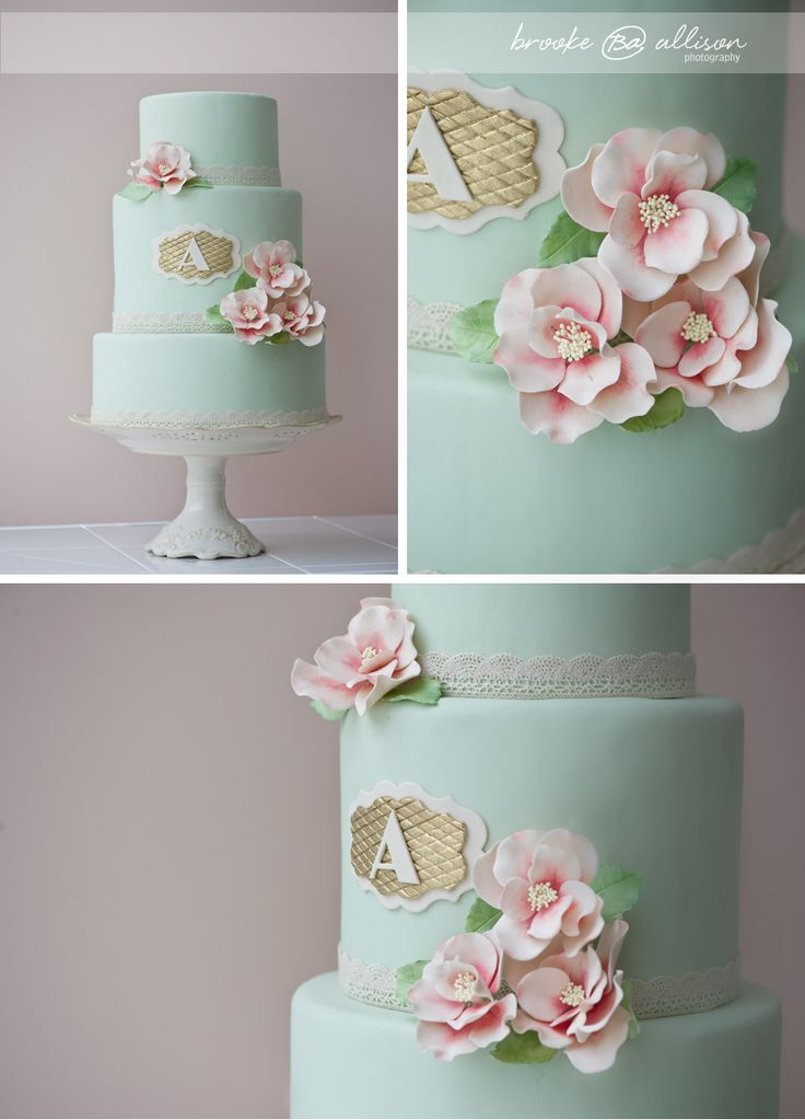 Mint cake with monogram, lace, and pink flowers.  Erica OBrien Cake Design (my FAVORITE cake baker), image by Brooke Allison Photography