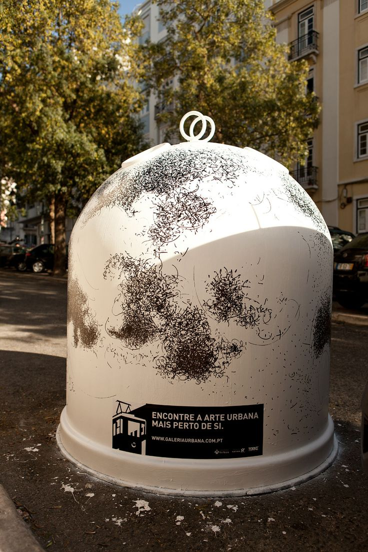 Draw intervention at Rua Pinheiro Chagas Glass Container (2012, Lisbon)