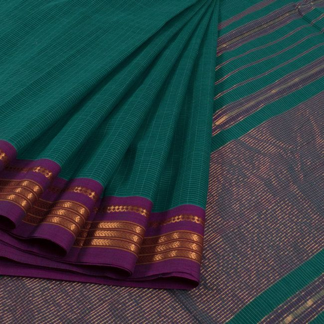 Buy online Handwoven Green Narayanpet Cotton Saree With Checks, Zari Border & Without Blouse 10013295