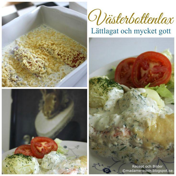 Enkelt recept på västerbottenlax i gräddig sås - Gott till potatis eller ris (ca 4 port) Recept 4 st laxfiléer á 125 g Salt/vitpep...