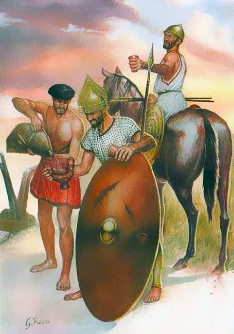 """I Paleoveneti: • Contadino paleoveneto, VII Sec. a.C. • Guerriero a piedi, VII Sec. a.C. • Guerriero a cavallo, VII Sec. a.C"", Giuseppe Rava"