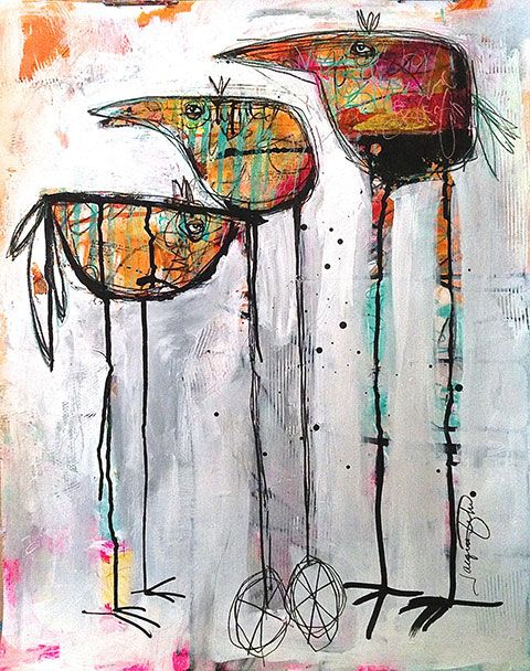 """""""Getting Ready to Leave the Nest""""  by  JACQUI  FEHL  (mixed media)"""