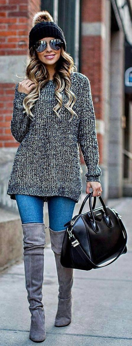 #winter #fashion /  Black Beanie / Grey Knit / Black Leather Tote Bag / Bleached Skinny Jeans / Grey Velvet OTK Boots