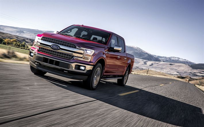 Descargar fondos de pantalla 4k, Ford-F-150, 2018 autos, SUVs, estados UNIDOS, carretera, Ford