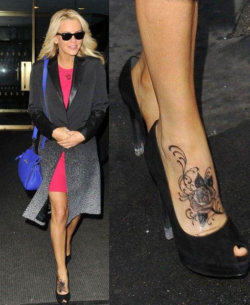 jenny mccarthy | Jenny McCarthy's Tattoos – Beautiful Rose Tattoo on Foot