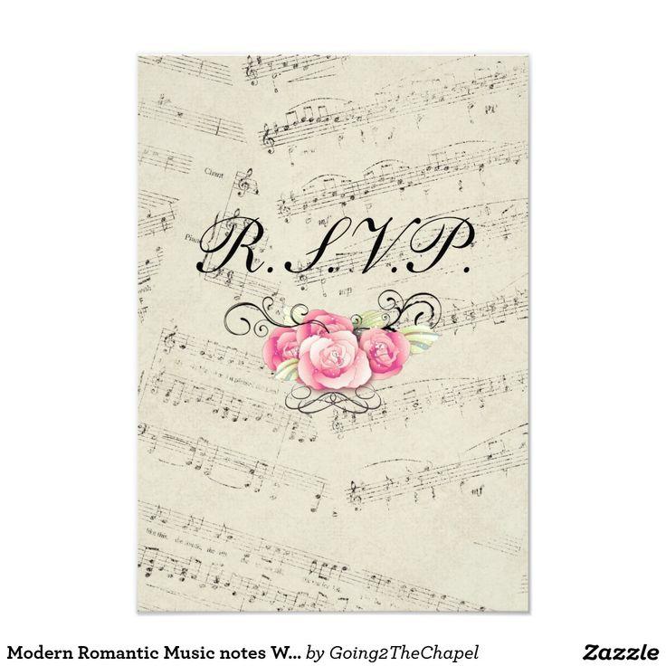 Modern Romantic Music Notes Wedding RSVP Response