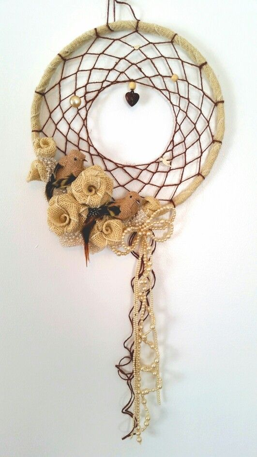 Burlap & Pearls  Dream Catcher