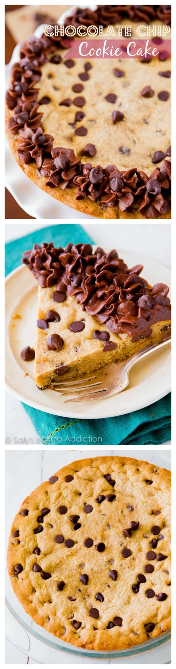 Chocolate Chip Cookie Cake - soft and rich in the center, chewy on the edges, and topped with milk chocolate frosting!