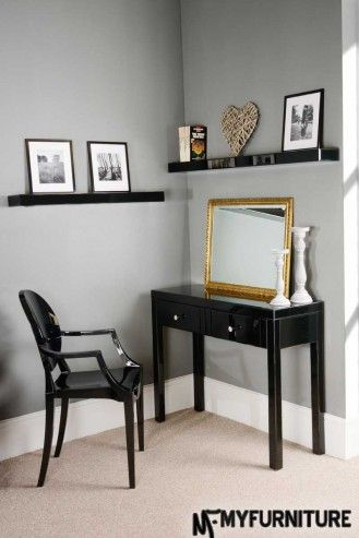 Chelsea Black Glass high gloss Mirrored furniture Dressing Console table 4Legs + Black Glass Luxury floating shelves wall storage display 90cm and 120cm
