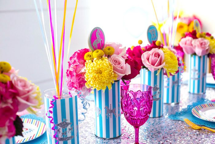 Flower centerpieces from a glam carnival birthday party on for Flower arrangements for parties