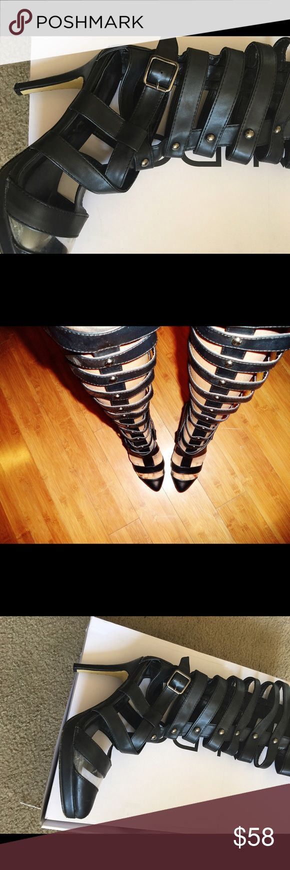 Vinyl caged high knee Bootie with zippered back Knee high booties with vinyl strip at front portion of shoes zippered back closure amazing shoes !!! Hausofurbanite  Shoes Over the Knee Boots