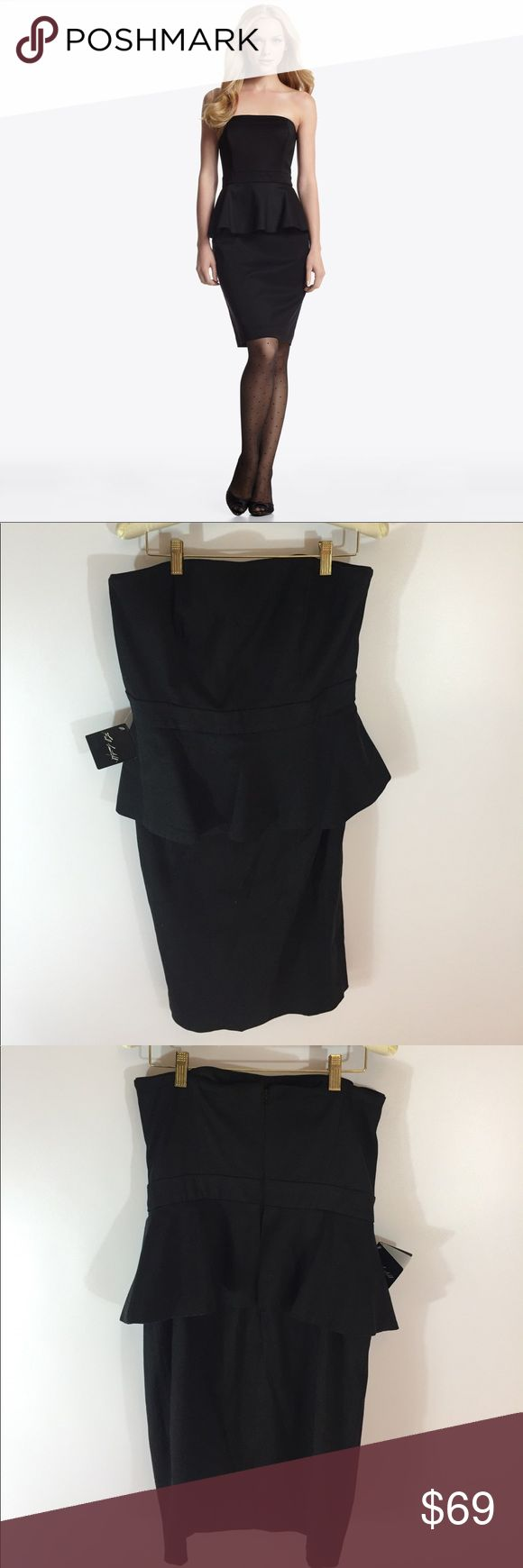 "NWT WHBM Peplum Strapless Black Dress So cute and Brand New with tags! Total lenght 32"" White House Black Market Dresses Strapless"