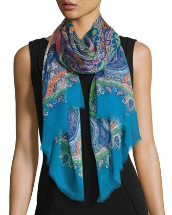 Silk Square Scarf - Painted Teal Colorblock by VIDA VIDA fnB3cb