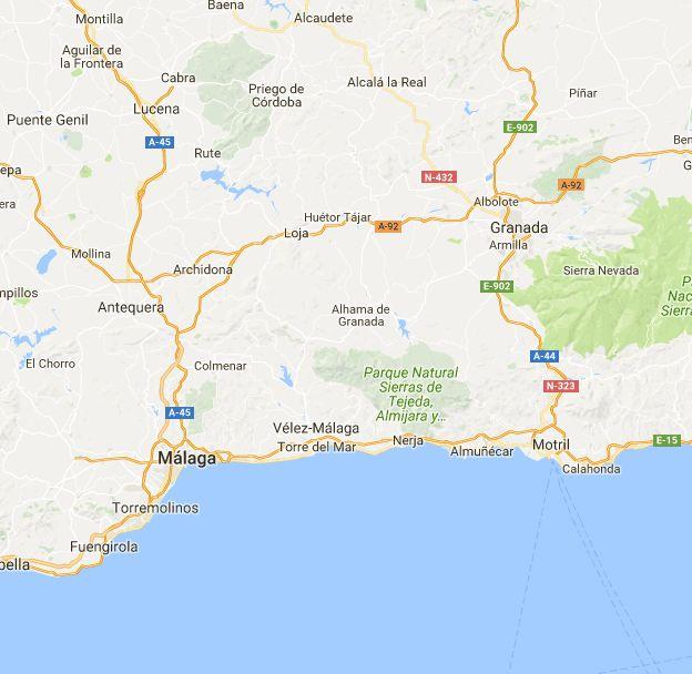 Distance between Granada, Spania and Málaga, Provincia Málaga, Spania, (Spain)
