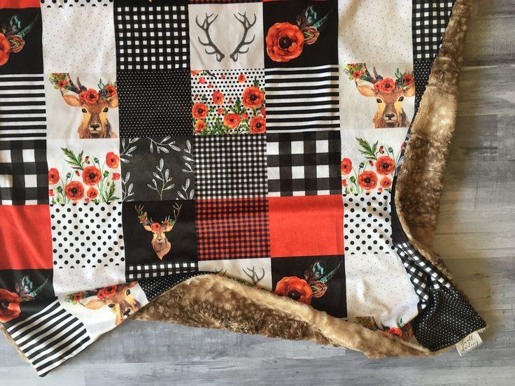 Minky Decke des Mädchen-Rotwild-Büffel-Checks, Mädchenkindertagesstätte, Waldkindertagesstättedecke, Babybettwäsche, Büffelcheck, Flanell, rotes schwarzes Plaid   – Girl Blankets