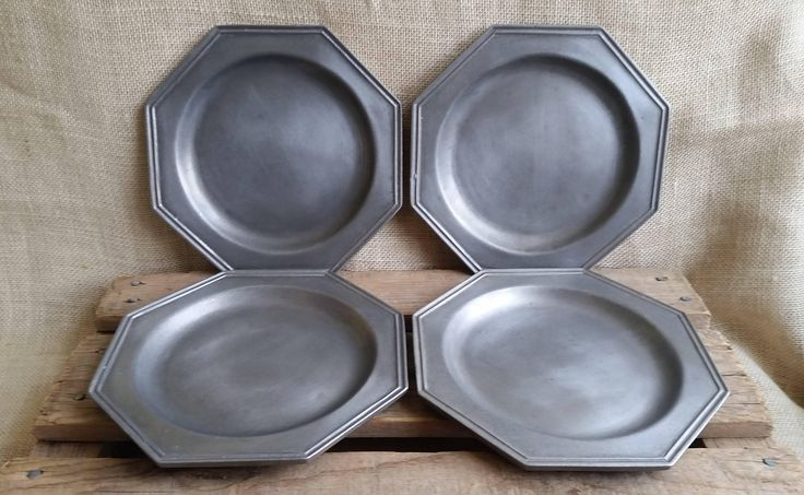 Pewter Plates Set of 4 Carson Pewter Plates Farmhouse Pewter Vintage Pewter Dinnerware Rustic Pewter Plates Holiday Dinnerware by RandomAmazing on Etsy