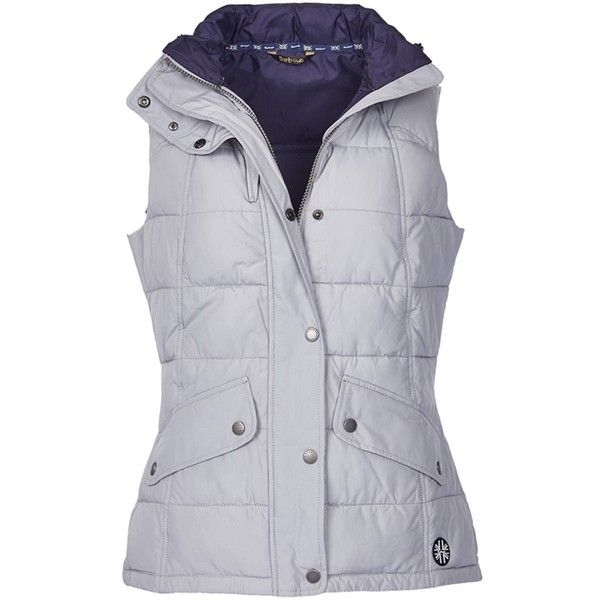 Women's Barbour Landry Gilet - Silver Ice ($175) ❤ liked on Polyvore featuring outerwear, vests, silver vest, barbour vest, barbour, gilet vest and barbour gilet