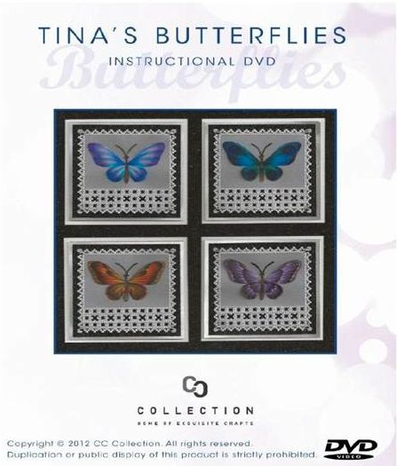 TINA'S BUTTERFLIES DVD BY TINA COX    Tina's Butterflies is a brand new instructional DVD by Tina Cox. In this DVD Tina demonstrates different parchment, painting and pencil techniques on her stunning butterflies.  The DVD comes with a completely new technique sheet 58 minutes long.