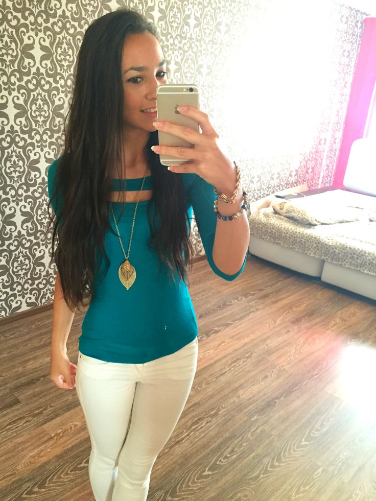 Cute casual outfit: Green Top - Charlotte Russe, White Jeans - Stradivarius, Gold Leaf Necklace - Charlotte Russe