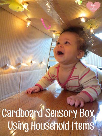 Cardboard sensory box using household items. An easy and fun sensory play idea.
