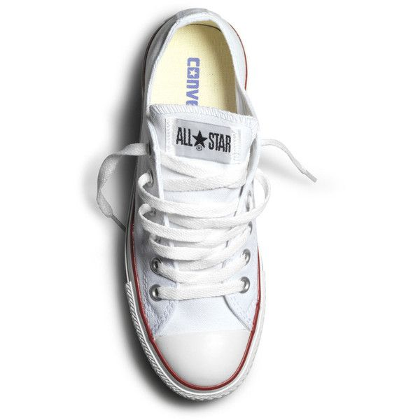Converse All Star Canvas Shoes Ox Low Trainers - White ($47) ❤ liked on Polyvore featuring men's fashion, men's shoes, men's sneakers, shoes, sneakers, converse, sapatos, fillers, converse mens sneakers and mens white shoes
