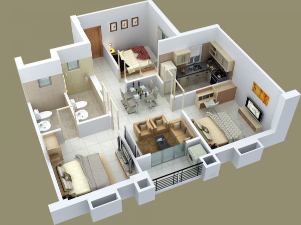 """homedesigning: """"25 Three Bedroom House/Apartment Floor Plans """""""