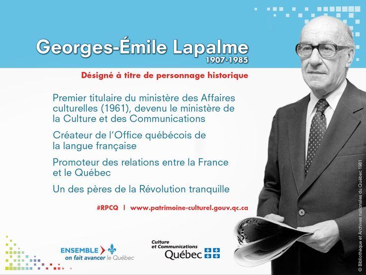 Le ministre Luc Fortin a procédé à la désignation de Georges-Émile Lapalme à titre de personnage historique. Ce geste symbolique, posé en vertu de la Loi sur le patrimoine culturel, coïncide avec le 55e anniversaire du ministère de la Culture et des Communications. #CultureQc #RPCQ