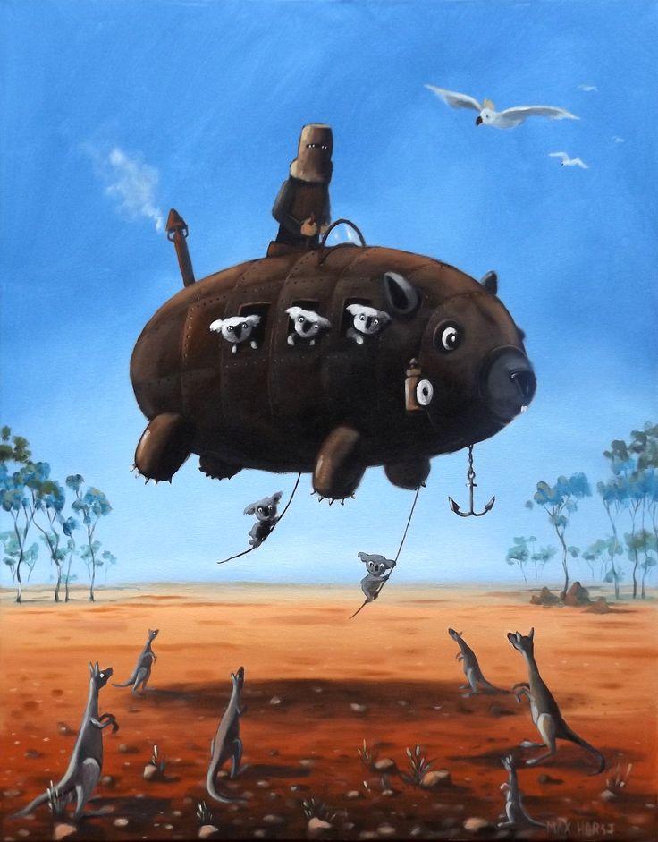 Ned Kelly and angry koalas on flying wombat by Max Horst Sokolowski
