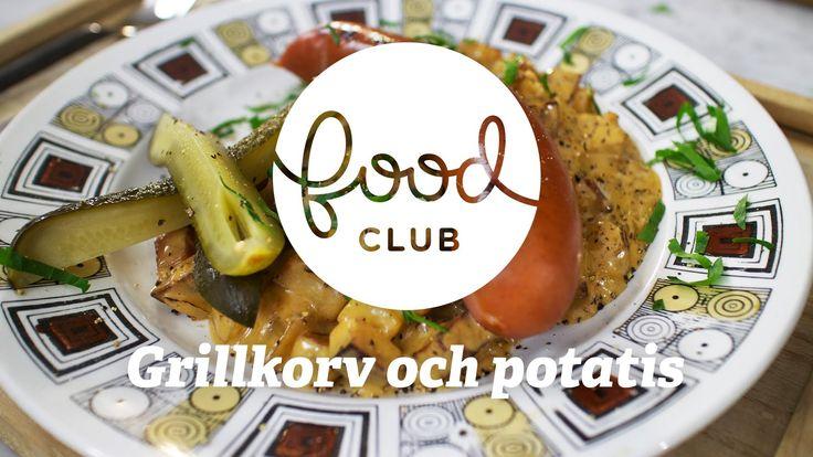Grillkorv med smak av Skåne   Steg för steg   FoodClub  GRILLKORV MED SMAK AV SKÅNE   RECEPT Ingredienser, 4 personer:  8 st GRILLKORVAR 450 g POTATIS 1 st GUK LÖK 1 dl KALVFOND (ej koncentrerad) 2 dl GRÄDDE 2 msk SKÅNSK SENAP SALTGURKA PERSILJA OLJA SALT  1. Tärna potatis och hacka lök. 2. Bryn potatisen och tillsätt löken.  3. Rör ner grädde och kalvfond. Låt koka ihop. 4. Tillsätt senap och smaka av med salt. 5. Grilla eller stek korven (använd gärna en gr