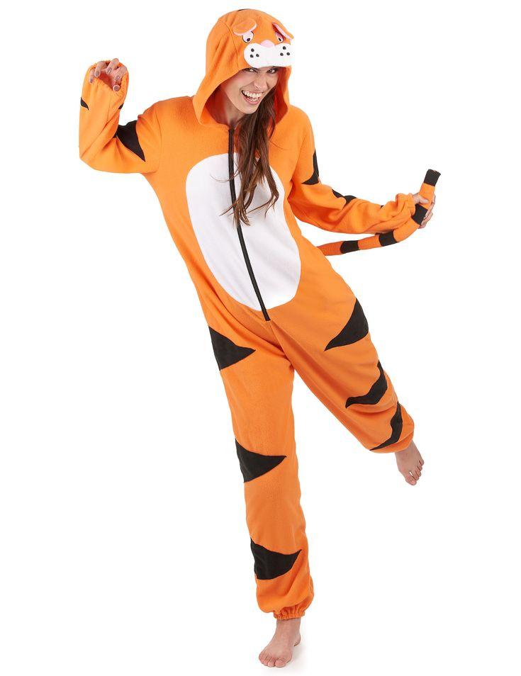 Traje de tigre con capucha mujer: Este traje de tigre polar es para mujer.Las mangas y piernas son largas y acaban en gomas.La capucha tiene orejas y hocico.La cola está cosida en la espalda.Conviértete con este disfraz...
