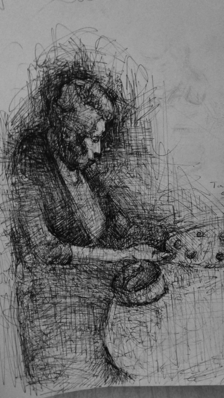 my grandmother coocking,pen on paper