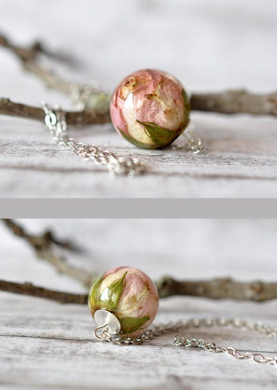 Rosebud Resin Ball - Real Rose Necklace