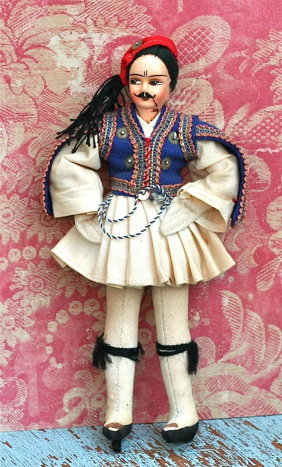 etsy Vintage Greek Folk Doll Tsolia by ivorybird 12