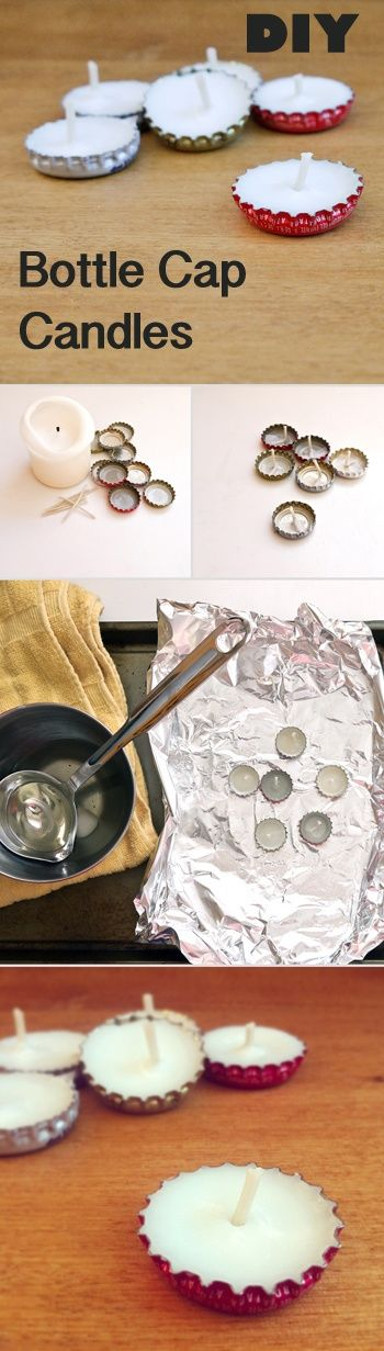Make these cute candles from bottle caps. Reuses old candles... Use for camping, emergencies, etc.