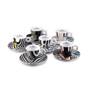 This signed and numbered, limited edition illy Art Collection cup set was designed exclusively for illy by Tobias Rehberger, one of Germany's most renowned contemporary artists, to mark the 53rd International Art Exhibition (Venice Biennale).
