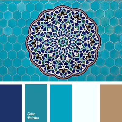 Cold shades of deep blue and blue diluted with a warmer shade of turquoise that stands out on the background of these two colors. The color solution is ide.