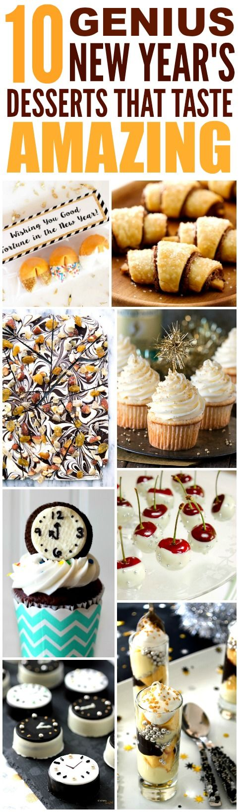 These 10 Easy and Delicious New Year's Dessert Ideas are THE BEST! I'm so HAPPY I found these GREAT recipes! Now I know what I'll make for the holidays! Definitely pinning!