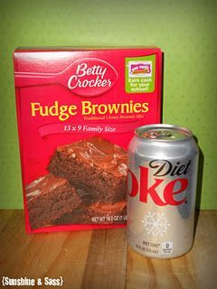 100 calorie brownie!  replace egg and oil with a can of diet coke (diet sprite works for white cake mix)
