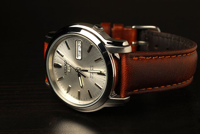 Seiko 5 leather strap by Hadley Roma ($17)