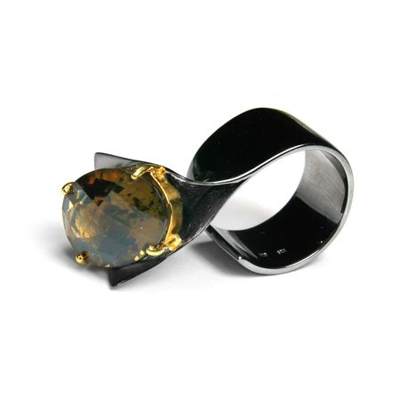 Ring | Gabriel Kabirski.  Sterling silver covered with Rhodium, gold and lemon quartz.