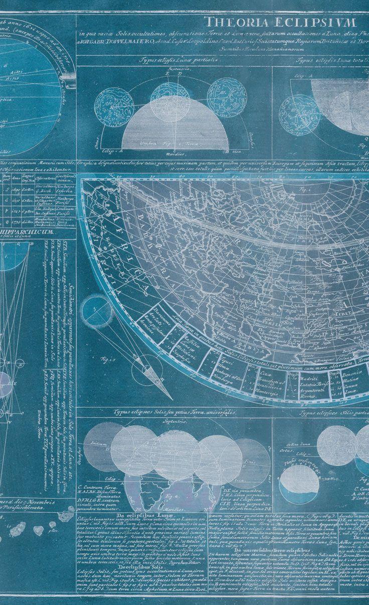 Carta da parati / Wall paper: ECLYPSE - Blue #Tecnografica #ItalianWallcoverings #cartadaparati #wallpaper #blu #blue #arredamentodinterni #interiordesign #design #cameradaletto #soggiorno #vintage #luna #cielo #ideas #bedroom #livingroom #moon #mappa #map